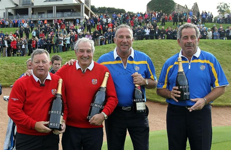 NEWPORT, WALES - SEPTEMBER 29:  (R-L) Sam Torrance, Sir Ian Botham, Gareth Edwards and Ian Woosnam pose following a Past Captains round prior to the 2010 Ryder Cup at the Celtic Manor Resort on September 29, 2010 in Newport, Wales.  (Photo by Jamie Squire/Getty Images)