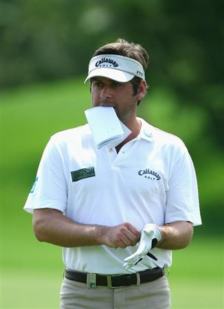 NELSPRUIT, SOUTH AFRICA - DECEMBER 13:  Robert Rock of England looks on during the third round of the Alfred Dunhill Championship at Leopard Creek Country Club on December 13, 2008 in Malelane, South Africa.  (Photo by Warren Little/Getty Images)