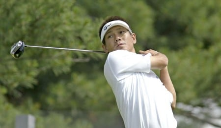 Hidemichi Tanaka drives on the 18th during the second round of the 2005 Barclays Classic at Westchester Country Club in  Harrison, New York on June 24, 2005.Photo by Michael Cohen/WireImage.com
