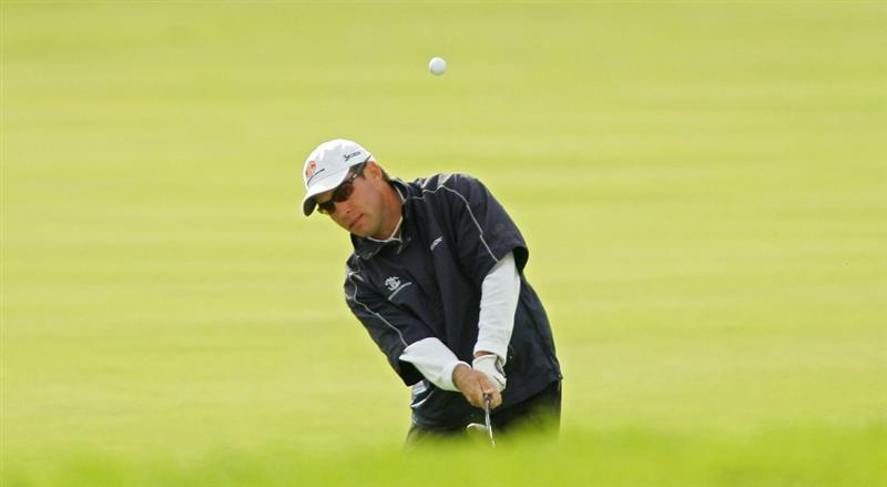 VERONA, NY - OCTOBER 05: Brian Davis of England plays his third shot on the ninth hole during the final round of the Turning Stone Resort Championship at Atunyote Golf Club held on October 5, 2008 in Verona, New York. (Photo by Michael Cohen/Getty Images)