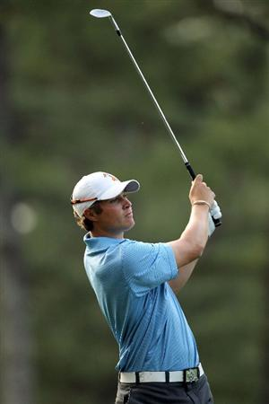 AUGUSTA, GA - APRIL 07:  Peter Uihlein hits his second shot on the 14th hole during the first round of the 2011 Masters Tournament at Augusta National Golf Club on April 7, 2011 in Augusta, Georgia.  (Photo by Jamie Squire/Getty Images)