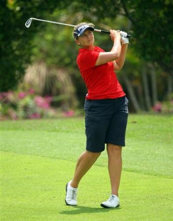 SINGAPORE - MARCH 07:  Angela Stanford of the USA hits her second shot on the 17th hole during the third round of the HSBC Women's Champions at Tanah Merah Country Club on March 7, 2009 in Singapore.  (Photo by Andrew Redington/Getty Images)