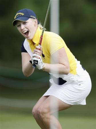 SYLVANIA, OH - JULY 03: Morgan Pressel reacts to a birdie chip that did not go in on the 18th green during the second round of the Jamie Farr Owens Corning Classic at Highland Hills Golf Club on July 3, 2009 in Sylvania, Ohio. (Photo by Gregory Shamus/Getty Images)