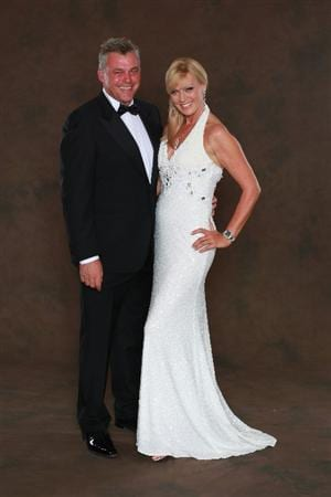 NEWPORT, WALES - SEPTEMBER 29:  European Ryder Cup team vice-captain Darren Clarke poses with his partner Alison Campbell prior to the 2010 Ryder Cup Dinner at the Celtic Manor Resort on September 29, 2010 in Newport, Wales.  (Photo by David Cannon/Getty Images)