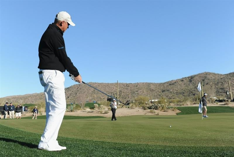 MARANA, AZ - FEBRUARY 22:  Thomas Bjorn of Denmark plays a shot during practice prior to the start of the World Golf Championships-Accenture Match Play Championship held at The Ritz-Carlton Golf Club, Dove Mountain on February 22, 2011 in Marana, Arizona.  (Photo by Stuart Franklin/Getty Images)