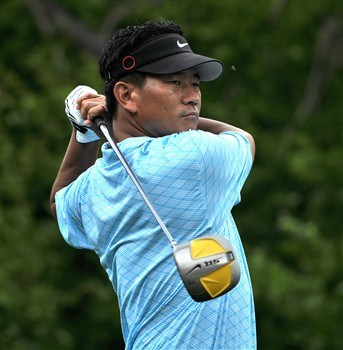 HUMBLE, TX - APRIL 4:  K.J. Choi of South Korea tees off the the second hole during the second round of the 2008 Shell Houston Open at the Redstone Golf Club April 4, 2008 in Humble, Texas.  (Photo by Marc Feldman/Getty Images)