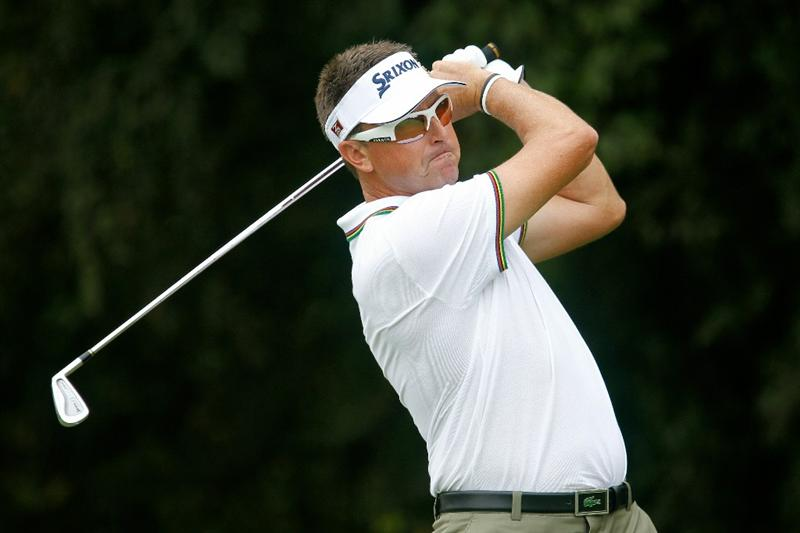 ATLANTA - SEPTEMBER 24:  Robert Allenby of Australia hits his tee shot on the 11th hole during the second round of THE TOUR Championship presented by Coca-Cola at East Lake Golf Club on September 24, 2010 in Atlanta, Georgia.  (Photo by Scott Halleran/Getty Images)