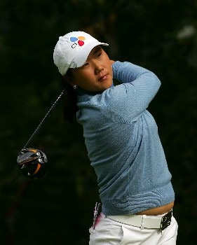 EDMONTON, CANADA - AUGUST 16:  Seon Hwa Lee of South Korea makes a tee shot on the eighth hole during the first round of the LPGA CN Canadian Women's Open 2007 at the Royal Mayfair Golf Club August 16, 2007 in Edmonton, Alberta, Canada.  (Photo by Robert Laberge/Getty Images)