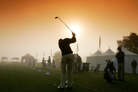 LAKESIDE, CA - NOVEMBER 01:  (EDS NOTE: A COLOR FILTER WAS USED IN CREATING THIS PHOTOGRAPH)   Brock MacKenzie hits practice balls during the 45 minute fog delay before the first round of the Nationwide Tour Championship at Barona Creek on November 1, 2007, at Barona Creek Golf Club in Lakeside, California.  (Photo by Stan Badz/US PGA TOUR)
