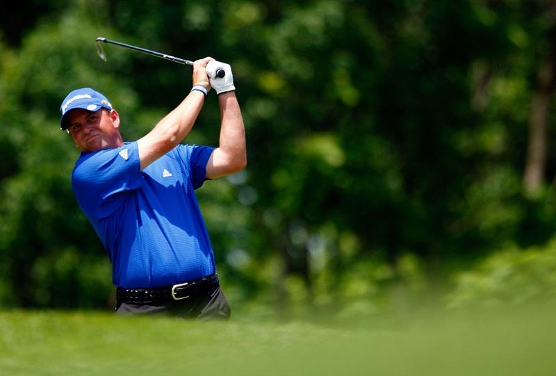 DUBLIN, OH - JUNE 07:  Matt Bettencourt hits his tee shot on the third hole during the final round of the Memorial Tournament at the Muirfield Village Golf Club on June 7, 2009 in Dublin, Ohio.  (Photo by Scott Halleran/Getty Images)