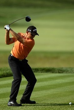 OAKMONT, PA - JUNE 16:  Niclas Fasth of Sweden hits a tee shot during the third round of the 107th U.S. Open Championship at Oakmont Country Club on June 16, 2007 in Oakmont, Pennsylvania.  (Photo by Harry How/Getty Images)