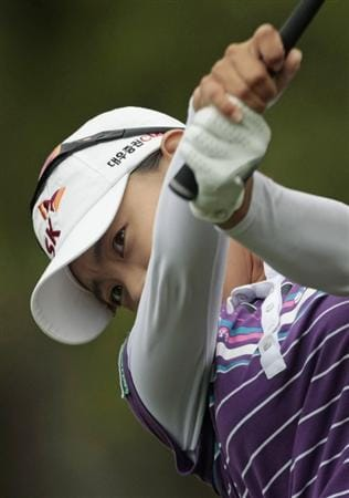 MOBILE, AL - MAY 16:  Na Yeon Choi of South Korea watches her drive from the third tee during final round play in the Bell Micro LPGA Classic at the Magnolia Grove Golf Course on May 16, 2010 in Mobile, Alabama.  (Photo by Dave Martin/Getty Images)