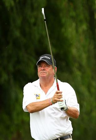 PERTH, AUSTRALIA - NOVEMBER 21:  Kevin Spurgeon of England tees off on the 2nd hole during day three of the 2010 Australian Senior Open at Royal Perth Golf Club on November 21, 2010 in Perth, Australia.  (Photo by Paul Kane/Getty Images)