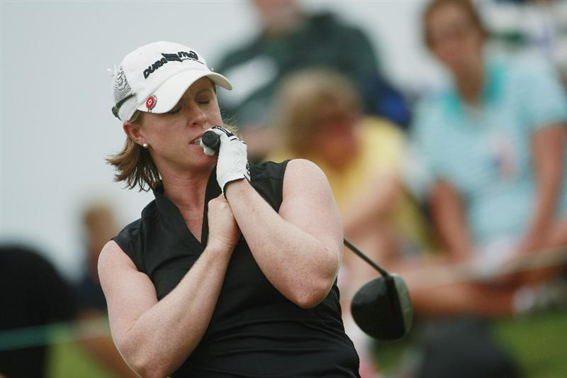 PRATTVILLE, AL - OCTOBER 4:  Allison Fouch reacts to her tee shot on the first hole during final round play in the Navistar LPGA Classic at the Robert Trent Jones Golf Trail at Capitol Hill on October 4, 2009 in  Prattville, Alabama.  (Photo by Dave Martin/Getty Images)