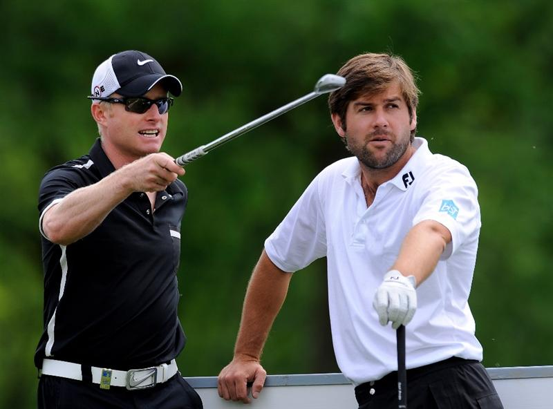 TURIN, ITALY - MAY 06:  Robert Rock of England and Simon Dyson of England on the 17th hole during the first round of the BMW Italian Open at Royal Park I Roveri on May 6, 2010 in Turin, Italy.  (Photo by Stuart Franklin/Getty Images)