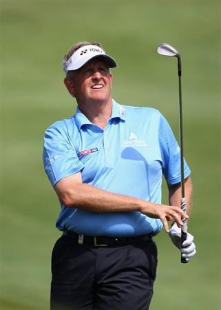 MALLORCA, SPAIN - MAY 12:  Colin Montgomerie of Scotland watches his approach shot to the 11th hole during day one of the Iberdrola Open at Pula Golf Club on May 12, 2011 in Mallorca, Spain.  (Photo by Julian Finney/Getty Images)