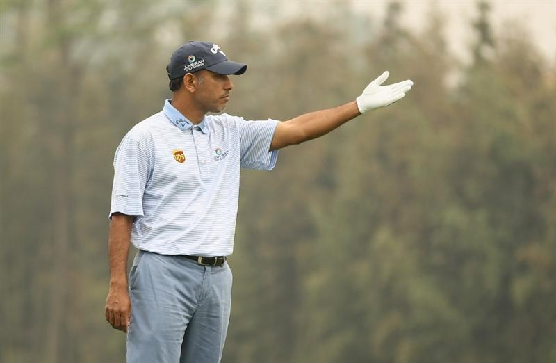 CHENGDU, CHINA - APRIL 20:  Jeev Milkha Sing of India looks on during the Pro-Am of the Volvo China Open at Luxehills Country Club on April 20, 2011 in Chengdu, China.  (Photo by Ian Walton/Getty Images)