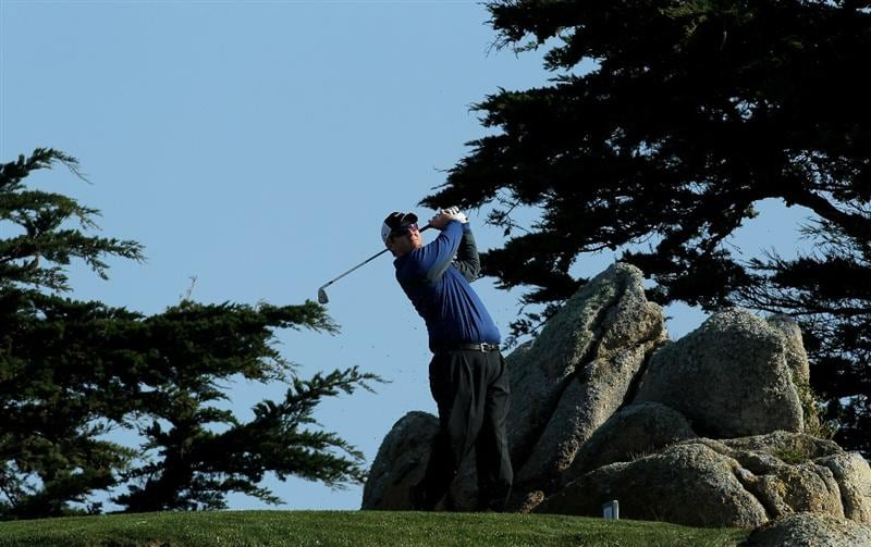 PEBBLE BEACH, CA - FEBRUARY 13: David Duval hits his tee shot on the 11th hole during the third round of the AT&T Pebble Beach National Pro-Am at Monterey Peninsula Country Club on February 13, 2010 in Pebble Beach, California. (Photo by Stephen Dunn/Getty Images)