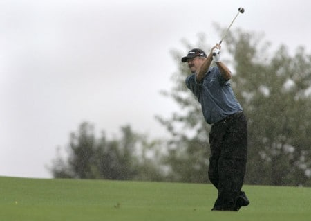 Gary McCord in action  during the first round of the Greater Hickory Classic at Rock Barn on the Jones Course  in Conover, North Carolina on October 7, 2005.Photo by Michael Cohen/WireImage.com