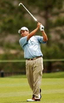 Omar Uresti hits his approach shot from the second fairway during the second round of the 2005 Shell Houston Open, at the Redstone Golf Club in Houston, Texas April 22, 2005.Photo by Steve Grayson/WireImage.com