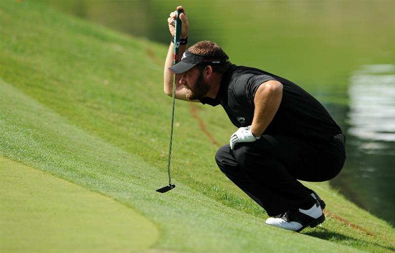 LAS VEGAS, NV - OCTOBER 21: Alex Cejka lines up his putt on the 17th hole during the first round of the Justin Timberlake Shriners Hospitals for Children Open on October 21, 2010 in Las Vegas, Nevada. (Photo by Steve Dykes/Getty Images)