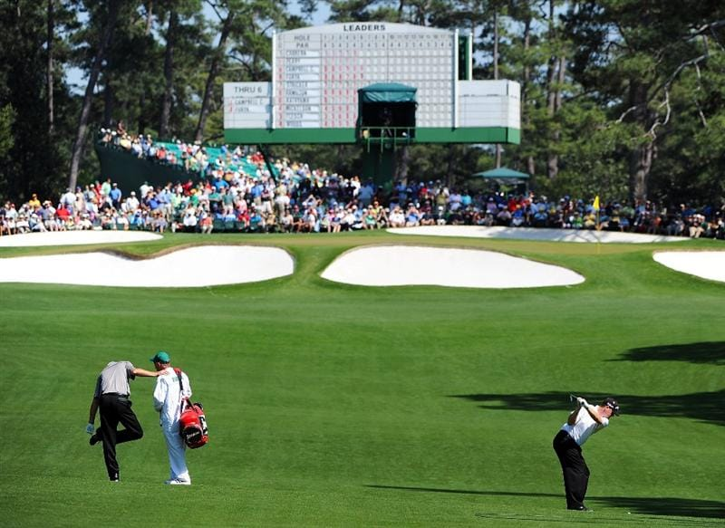 AUGUSTA, GA - APRIL 12:  Chad Campbell hits his second shot on the seventh hole during the final round of the 2009 Masters Tournament at Augusta National Golf Club on April 12, 2009 in Augusta, Georgia.  (Photo by Harry How/Getty Images)