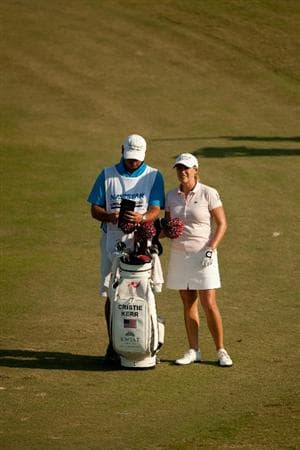 PRATTVILLE, AL - OCTOBER 10: Cristie Kerr stands in the 15th fairway with her golf bag during the final round of the Navistar LPGA Classic at the Senator Course at the Robert Trent Jones Golf Trail on October 10, 2010 in Prattville, Alabama. (Photo by Darren Carroll/Getty Images)