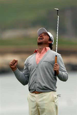 PEBBLE BEACH, CA - JUNE 20:  Graeme McDowell of Northern Ireland celebrates making par on the 18th hole to win the 110th U.S. Open at Pebble Beach Golf Links on June 20, 2010 in Pebble Beach, California.  (Photo by Donald Miralle/Getty Images)