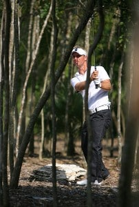 Richard S. Johnson hits out of the woods on the 13th hole during the first round Mayakoba Golf Classic at El Camaleon at Mayakoba in Playa Del Carmen, Mexico on February 22, 2007. PGA TOUR - 2007 Mayakoba Golf Classic - First RoundPhoto by Mike Ehrmann/WireImage.com