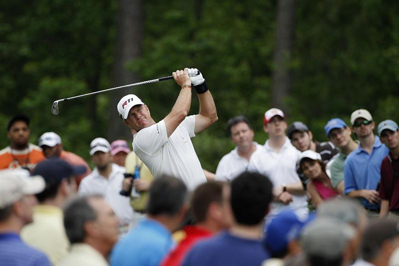 HUMBLE, TX - APRIL 03: Scott Verplank hits his tee shot on the 14th hole during the final round of the Shell Houston Open at Redstone Golf Club on April 3, 2011 in Humble, Texas.  (Photo by Michael Cohen/Getty Images)