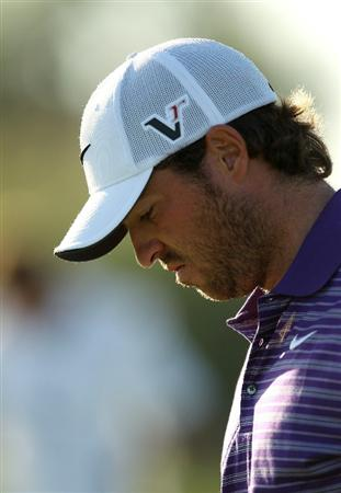 VILAMOURA, PORTUGAL - OCTOBER 17:  Pablo Martin of Spain looks dejected after missing a par putt on the 16th green during the final round of the Portugal Masters at the Oceanico Victoria Golf Course on October 17, 2010 in Vilamoura, Portugal.  (Photo by Richard Heathcote/Getty Images)
