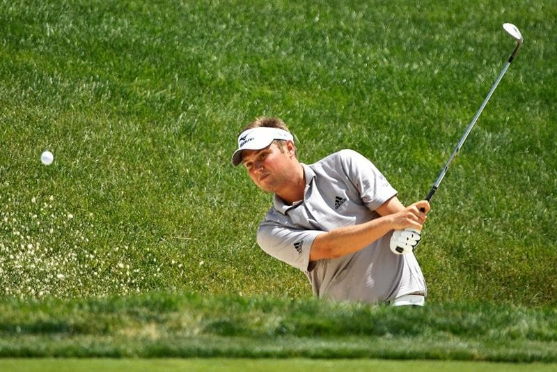 DUBLIN, OH - JUNE 03:  Jeff Overton plays a bunker shot on the 14th hole during the first round of the Memorial Tournament presented by Morgan Stanley at Muirfield Village Golf Club on June 3, 2010 in Dublin, Ohio.  (Photo by Scott Halleran/Getty Images)
