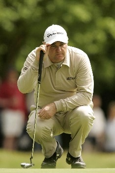 Stephen Dodd reads the line during the final round of the 2005 BMW Championship at Wentworth Golf Club's West Course. May 29, 2005Photo by Pete Fontaine/WireImage.com