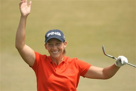 REUNION, FLORIDA - APRIL 18:  Angela Stanford celebrates her eagle on the 17th hole during the second round of the Ginn Open at Reunion Resort on April 18, 2008 in Reunion, Florida.  (Photo by Scott Halleran/Getty Images)
