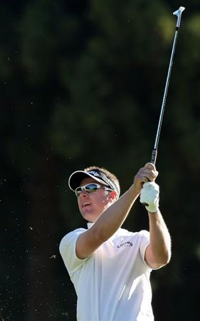 GOTENBA, JAPAN - NOVEMBER 14:  Brendan Jones of Australia hits his approach shot on the 15th hole during the second round of Mitsui Sumitomo Visa Taiheiyo Masters at Taiheiyo Club on November 14, 2008 in Gotenba, Shizuoka, Japan.  (Photo by Koichi Kamoshida/Getty Images)