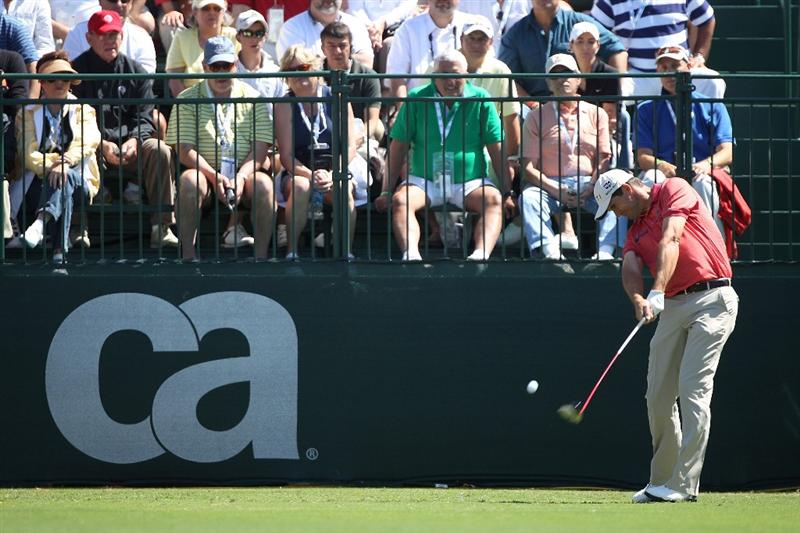 DORAL, FL - MARCH 13:  Padraig Harrington of Ireland tees off on the first tee box during round three of the 2010 WGC-CA Championship at the TPC Blue Monster at Doral on March 13, 2010 in Doral, Florida.  (Photo by Scott Halleran/Getty Images)