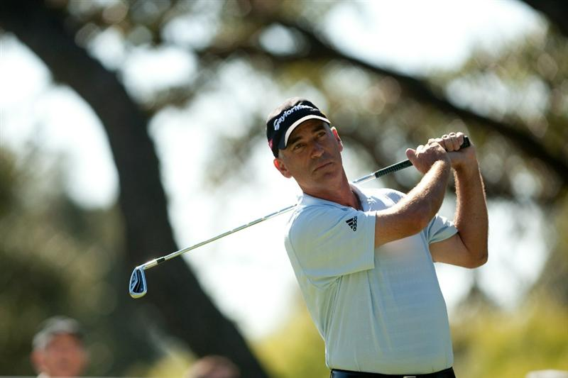 SAN ANTONIO, TX - OCTOBER 31: Corey Pavin follows through on a tee shot during the final round of the AT&T Championship at Oak Hills Country Club on October 31, 2010 in San Antonio, Texas. (Photo by Darren Carroll/Getty Images)