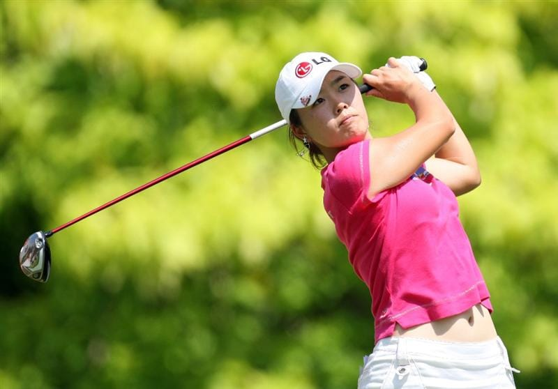 SINGAPORE - MARCH 06:  Angela Park of Brazil tees off on the par four 6th tee during the second round of HSBC Women's Champions at the Tanah Merah Country Club on March 6, 2009 in Singapore.  (Photo by Ross Kinnaird/Getty Images)