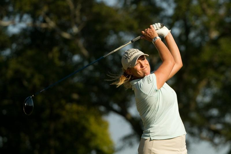 PRATTVILLE, AL - OCTOBER 9: Cristie Kerr follows through on a tee shot during the third round of the Navistar LPGA Classic at the Senator Course at the Robert Trent Jones Golf Trail on October 9, 2010 in Prattville, Alabama. (Photo by Darren Carroll/Getty Images)