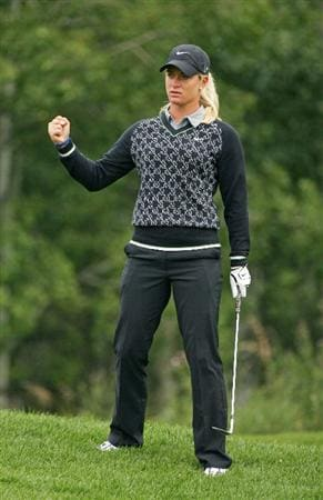 CALGARY, AB - SEPTEMBER 06 : Suzann Pettersen of Norway fist pumps after chipping in for birdie on the 10th hole during the final round of the Canadian Women's Open at Priddis Greens Golf & Country Club on September 6, 2009 in Calgary, Alberta, Canada. (Photo by Hunter Martin/Getty Images)