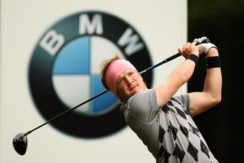 WENTWORTH, ENGLAND - MAY 23:  Pelle Edberg of Sweden tees off on the 3rd during the Third Round of the BMW PGA Championship at Wentworth on May 23, 2009 in Virginia Water, England.  (Photo by Ross Kinnaird/Getty Images)
