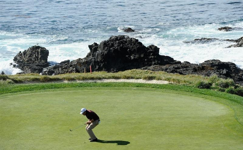 PEBBLE BEACH, CA - FEBRUARY 13:  Phil Mickelson reacts to his putt on the seventh hole during the final round of the AT&T Pebble Beach National Pro-Am at Pebble Beach Golf Links on February 13, 2011  in Pebble Beach, California.  (Photo by Stuart Franklin/Getty Images)
