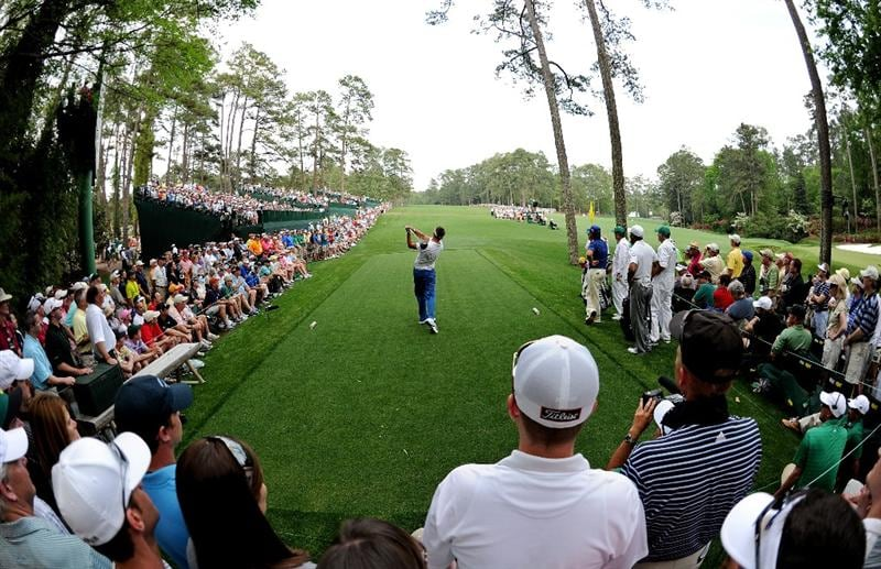 AUGUSTA, GA - APRIL 08:  Robert Allenby of Australia hits his tee shot on the 14th hole during the second round of the 2011 Masters Tournament at Augusta National Golf Club on April 8, 2011 in Augusta, Georgia.  (Photo by Harry How/Getty Images)