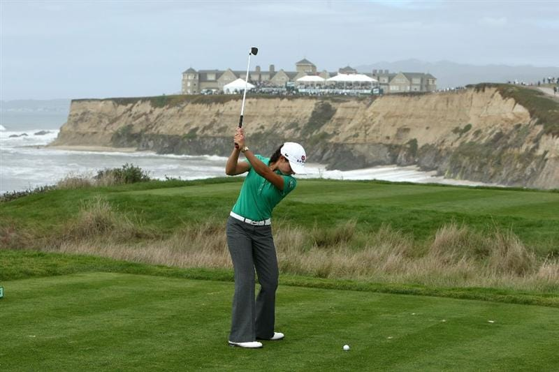 HALF MOON BAY, CA - OCTOBER 05:  Lorena Ochoa tees off on the 17th hole during the final round of the Samsung World Championship at the Half Moon Bay Golf Links Ocean Course on October 5, 2008 in Half Moon Bay, California.  (Photo by Jonathan Ferrey/Getty Images)