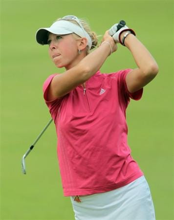 SINGAPORE - FEBRUARY 27:  Jessica Korda of the USA watches her approach shot on the 12th hole during the final round of the HSBC Women's Champions 2011 at the Tanah Merah Country Club on February 27, 2011 in Singapore, Singapore.  (Photo by Scott Halleran/Getty Images)