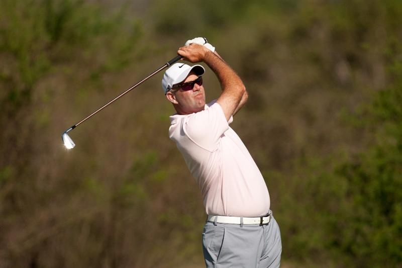 SAN ANTONIO, TX - APRIL 15: Stewart Cink follows through on a tee shot during the second round of the Valero Texas Open at the AT&T Oaks Course at TPC San Antonio on April 15, 2011 in San Antonio, Texas. (Photo by Darren Carroll/Getty Images)