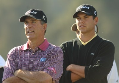 Jay Haas and Bill Haas look on as Brad Faxon hits from the 18th tee during the practice round of the 2006 Nissan Open at Rivera Country Club in Pacific Palisades, California February 14, 2006.Photo by Steve Grayson/WireImage.com