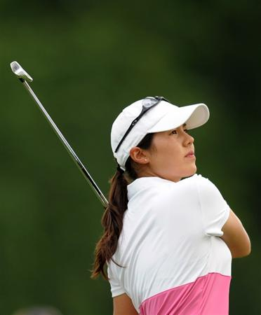 HAVRE DE GRACE, MD - JUNE 13: Aree Song of South Korea hits her tee shot on the seventh hole during the third round of the McDonald's LPGA Championship at Bulle Rock Golf Course on June 12, 2009 in Havre de Grace, Maryland. (Photo by Drew Hallowell/Getty Images)