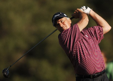 Curtis Strange hits from the 18th tee during the second round of the FedEx Kinko's Classic at the Hills Country Club in Austin, Texas April 30, 2005.Photo by Steve Grayson/WireImage.com