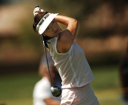 Grace Park hits her second shot on the 9th fairway during the third round of the LPGA's 2005 Kraft Nabisco Championship, at Mission Hills Country Club in Rancho Mirage, California March 26, 2005.